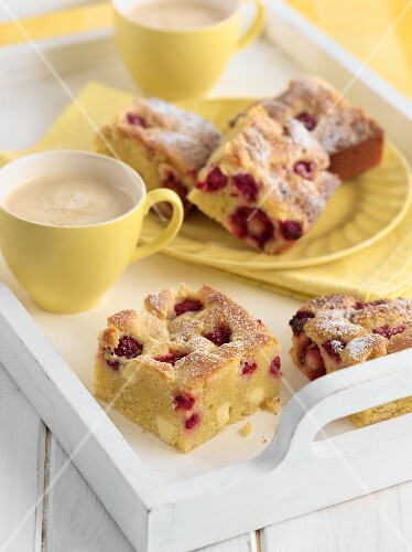 Blondies and coffee on a tray