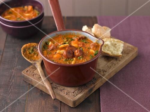 Chorizo soup in a pan