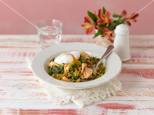 Salmon kedgeree with a poached egg