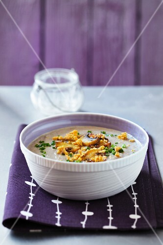 Cream of mushroom soup with chives
