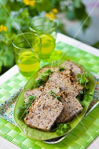 Buckwheat, mushroom and tofu terrine