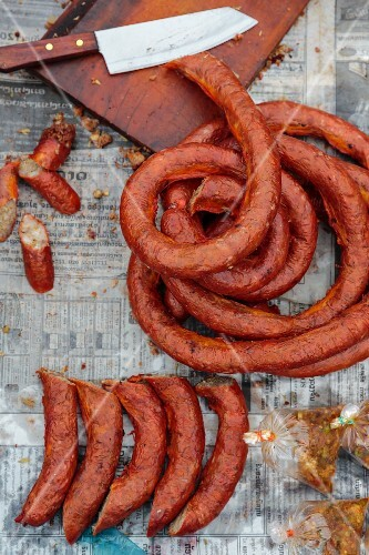 Laos sausage at a market stand in Vientiane, Laos