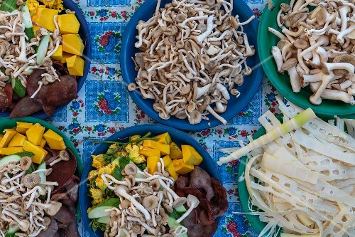 Wild mushrooms and chopped vegetables at a market stand, Vientiane, Laos