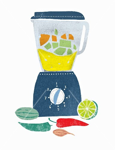 ingredients for gazpacho in a blender and next to it (illustration)