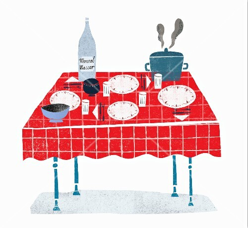 A table laid with a steaming pot and mineral water (illustration)