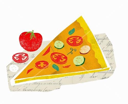 A slice of vegetable pizza (illustration)