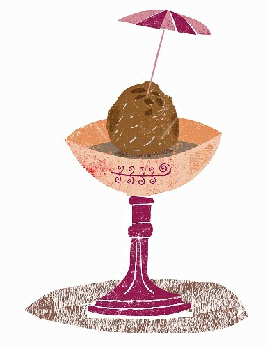 A scoop of chocolate ice cream in a sundae glass (illustration)