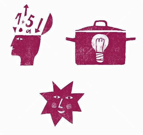 Three symbols: thoughts, a pot and a sunshine (illustration)