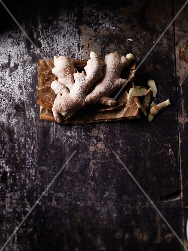 Ginger roots on a vintage surface