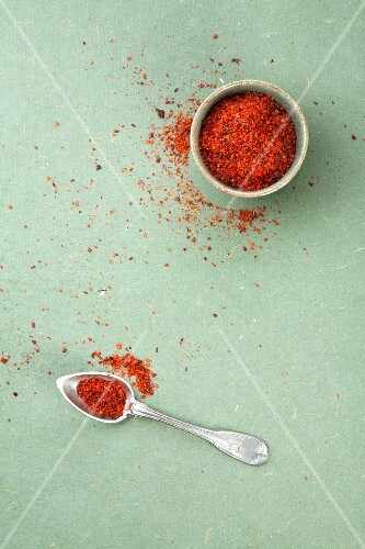 Chilli flakes in a bowl and on a spoon