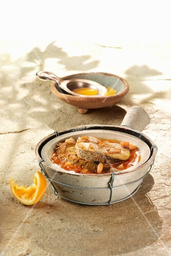 Caldo de pescadores (fish soup with bitter oranges and stale bread, Spain)