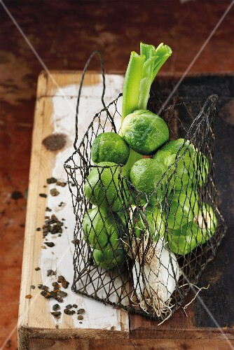 Brussels sprouts in a wire net