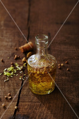 A small glass bottle of spiced oil