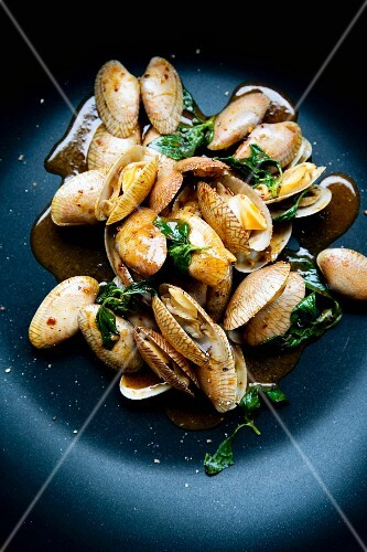 Hoy Lai Pad Prik Phauw (clams with Thai basil and curry paste, Thailand)