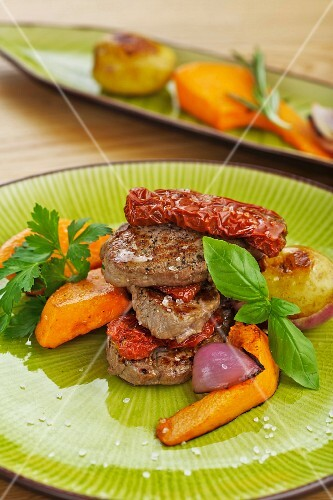 Beef fillet with dried tomatoes and pumpkin