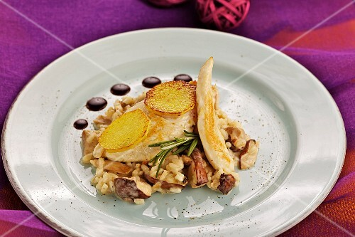 Porcini mushroom risotto with chicken breast and ginger