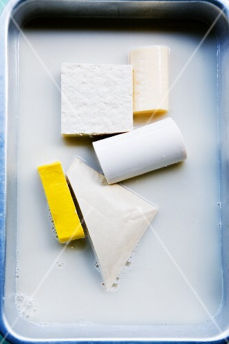 Various types of tofu in brine