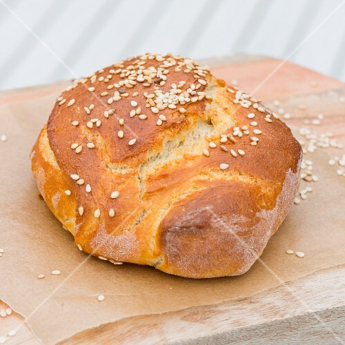 Freshly baked brioche with sesame seeds