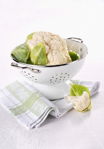 Cauliflower in a colander
