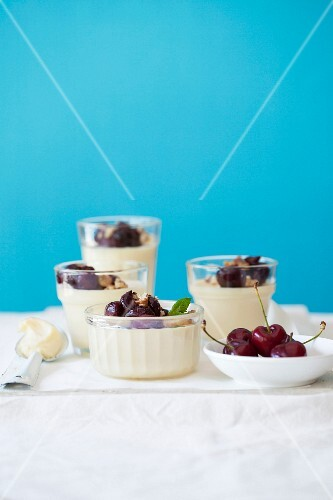 White chocolate and rose water mousse with caramelised cherries