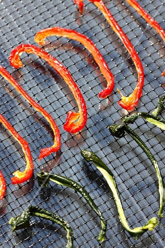 Strips of red and green pepper on a wire rack in a solar dryer