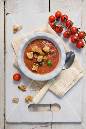 Summer gazpacho with croutons, tomatoes and basil