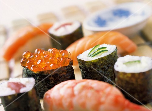 Various types of sushi and maki (close-up)