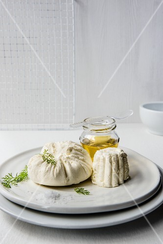 Homemade ricotta with olive oil