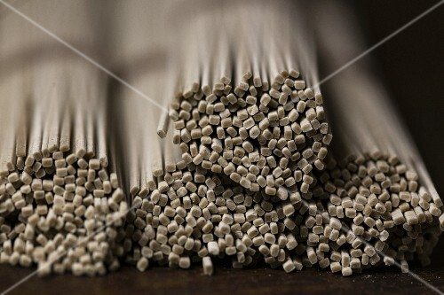 Bundles of buckwheat noodles