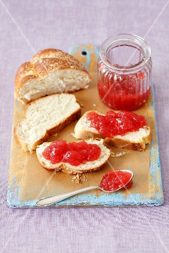 Plaited bread with strawberry jam