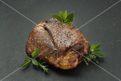 Leg of lamb with fresh herbs