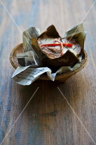 Hoo Mok (mini fish bake served in a banana leaf, Thailand)