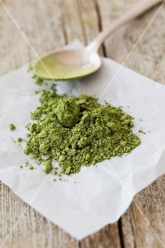 Matcha powder on a piece of paper