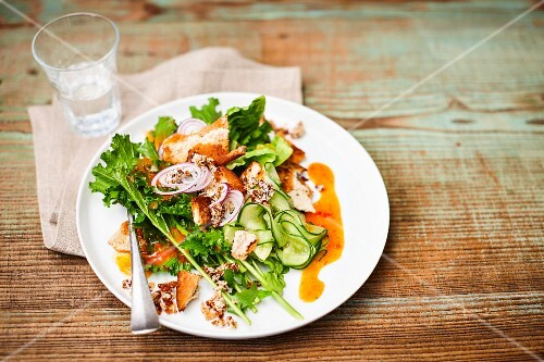 Vegan bread salad with rapini, cucumber and coconut