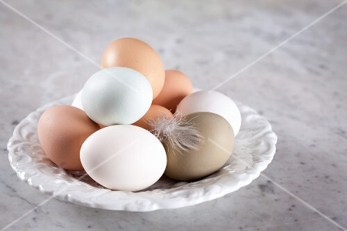 Fresh eggs with a feather on a plate