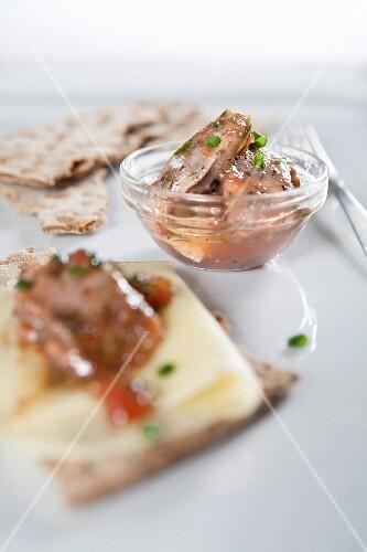 Pickled herring and crispbread