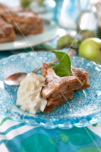 A piece of apple pie with whipped cream