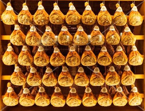 Parma ham hanging in a ripening cellar (Emilia Romagna, Italy)