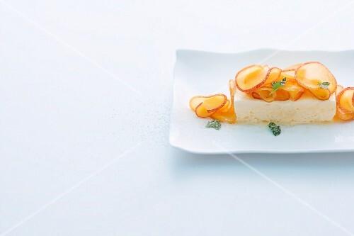 Elderflower parfait with peach and mint