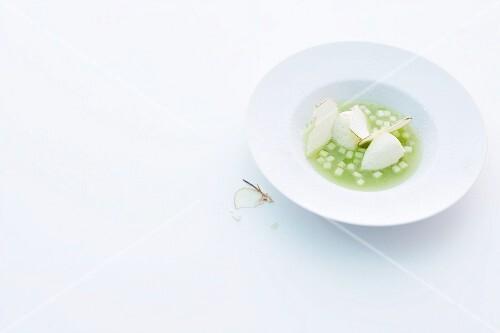 Cold apple soup with sour cream dumplings