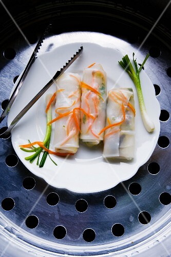 Guitiauw Hoo (stuffed rice noodle rolls with tofu, minced pork and vegetables, Thailand)