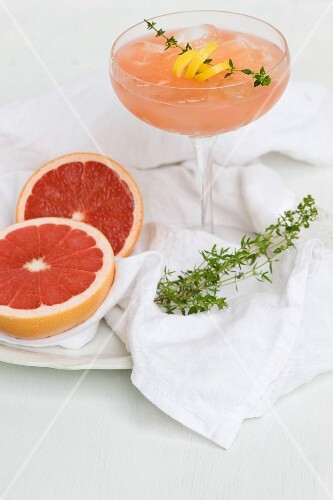 Rhubarb and grapefruit cocktail with thyme