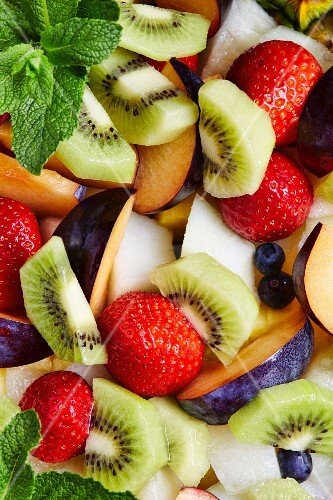 Fresh fruit salad with mint leaves