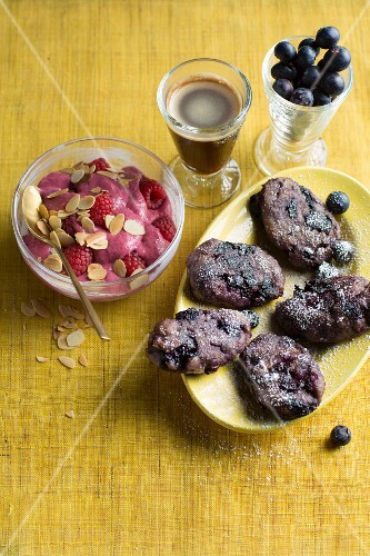 Chia pudding with raspberries and blueberry dumplings