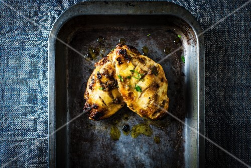 Roast chicken breast in preserved lemons and ras el hanout