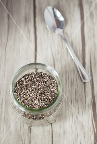 A jar of chia seeds