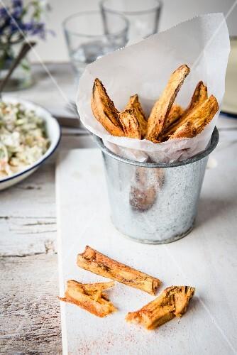 Sweet potato chips in a metal bucket