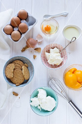 Ingredients for cheesecake with peaches