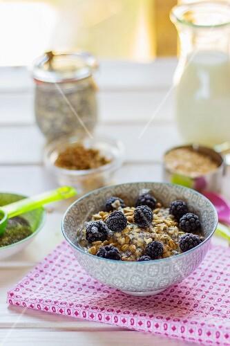 Muesli with frozen blackberries