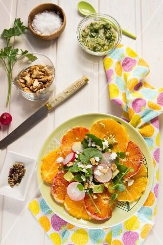 Orange salad with radishes, avocado and walnuts